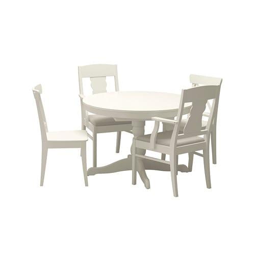 Scaune Living Ikea.Ingatorp Ingolf Table And 4 Chairs White Nordvalla Beige