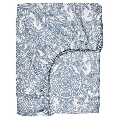 JÄTTEVALLMO شرشف بمطاط, أبيض/أزرق, 160x200 سم
