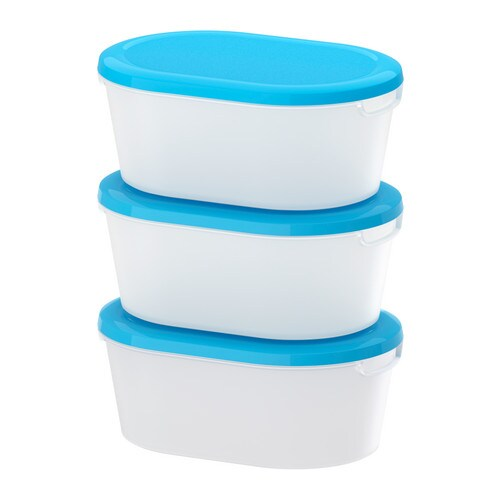 JÄMKA Food container   Several empty food containers can be stacked inside one another to save space in your cabinets.
