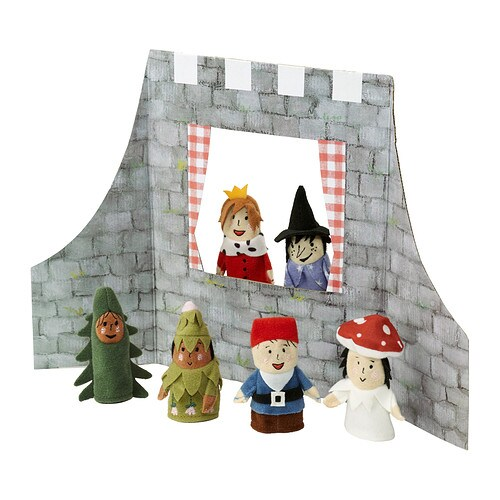JÄTTELITEN 7-piece fingerpuppets w accessories   One size, suitable for both small and large fingers.