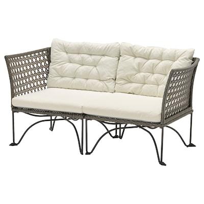 JUTHOLMEN 2-seat modular sofa, outdoor, dark grey/Kuddarna beige