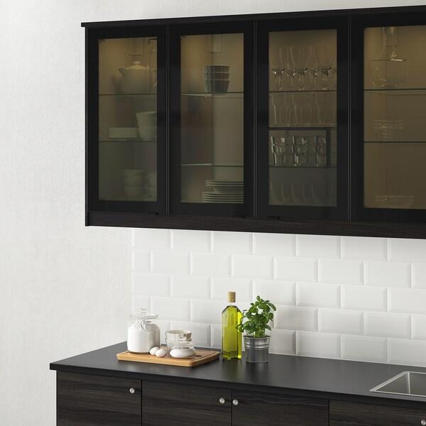 JUTIS Glass door, smoked glass/black, 30x100 cm