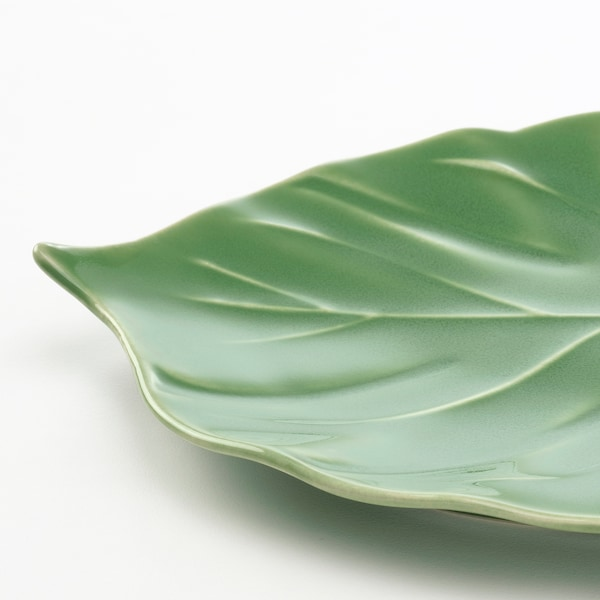 KALASFINT Serving plate, Monstera green, 26x20 cm