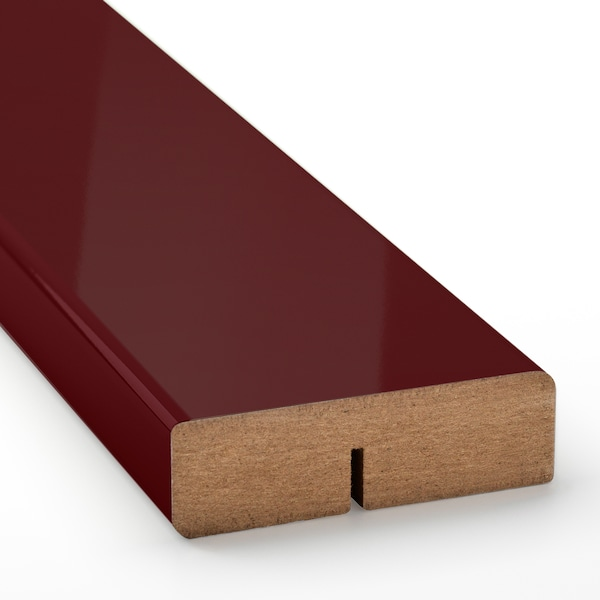 KALLARP Rounded deco strip/moulding, high-gloss dark red-brown, 221 cm
