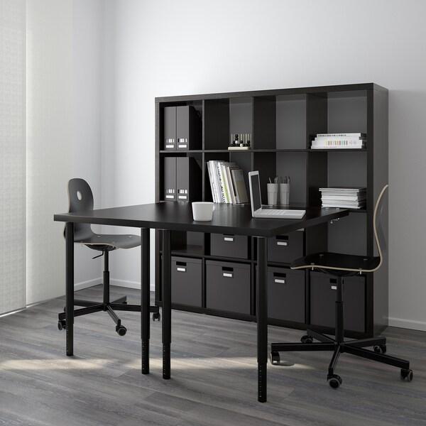 KALLAX desk combination black-brown 147 cm 159 cm 147 cm