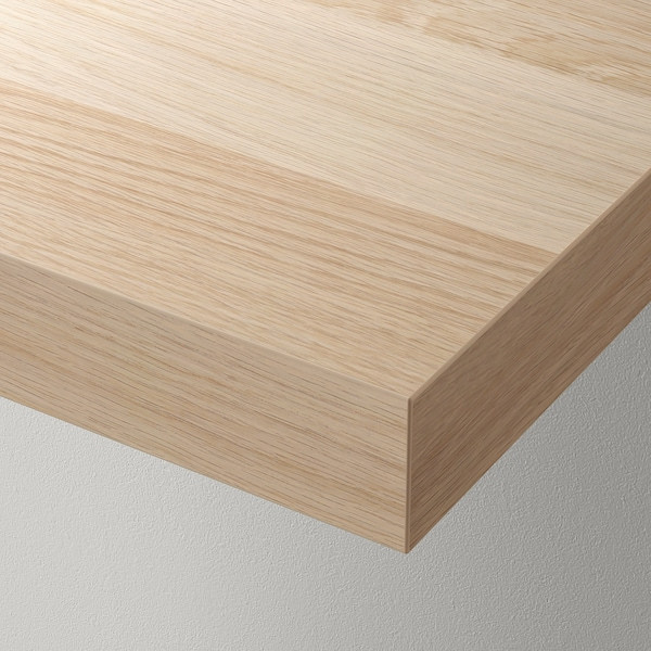 KALLAX / LACK Storage combination with shelf, white stained oak effect, 189x39x147 cm