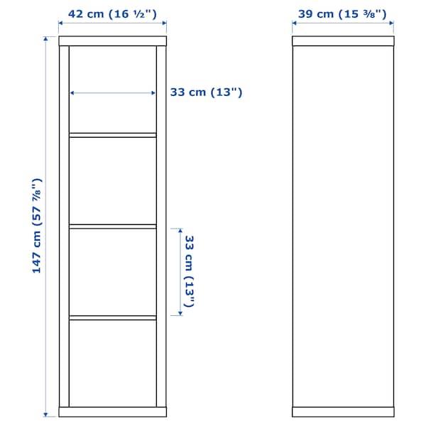 KALLAX Shelving unit with 2 inserts, black-brown, 42x147 cm