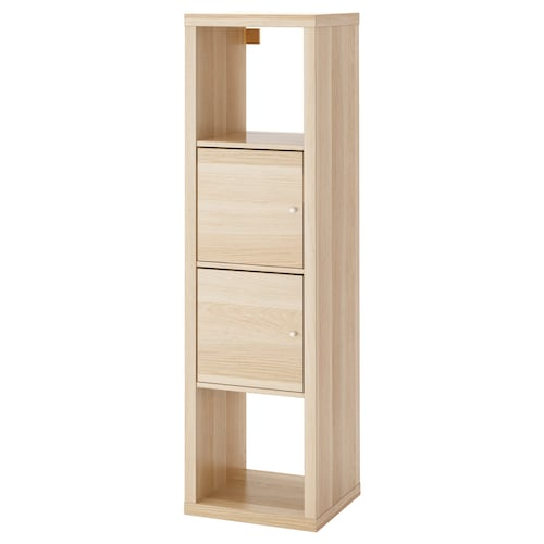 KALLAX shelving unit with 2 inserts white stained oak effect 42 cm 39 cm 147 cm 13 kg