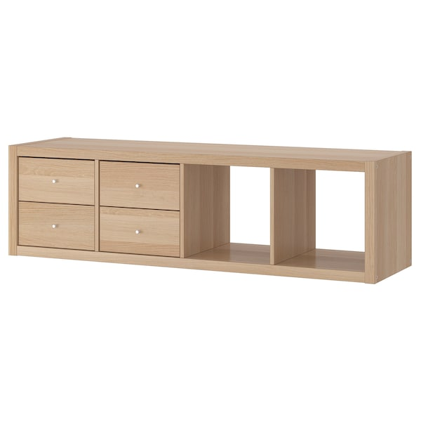 KALLAX Shelving unit with 2 inserts, white stained oak effect, 42x147 cm