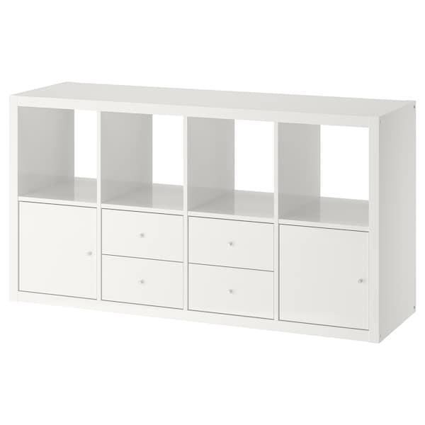 KALLAX Shelving unit with 4 inserts, high-gloss/white, 77x147 cm