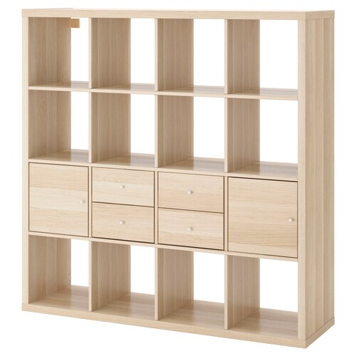 KALLAX shelving unit with 4 inserts white stained oak effect 147 cm 39 cm 147 cm 13 kg