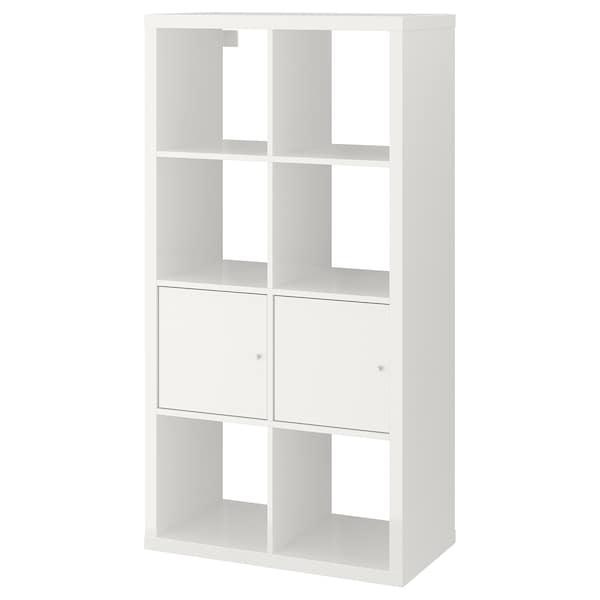 KALLAX Shelving unit with doors, high-gloss/white, 77x147 cm