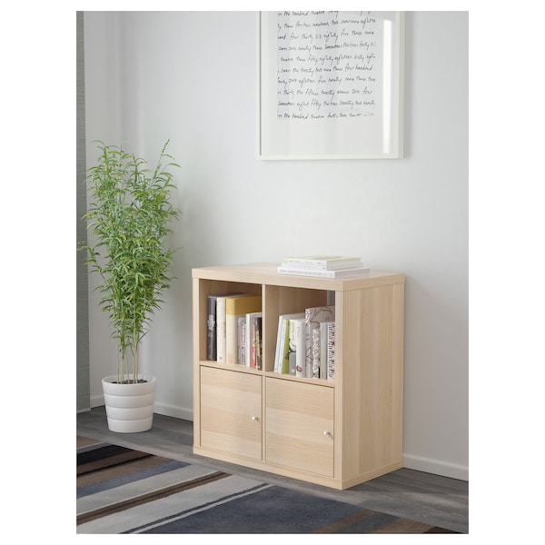 KALLAX Shelving unit with doors, white stained oak effect, 77x77 cm