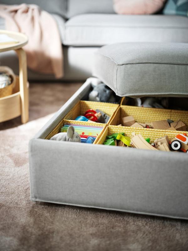 KIVIK Footstool with storage, Orrsta light grey