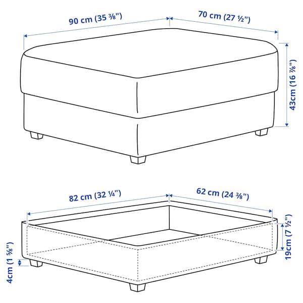 KIVIK Footstool with storage, Skiftebo dark grey