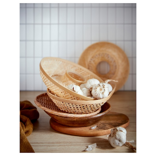 KLYFTA Serving basket, bamboo, 29 cm