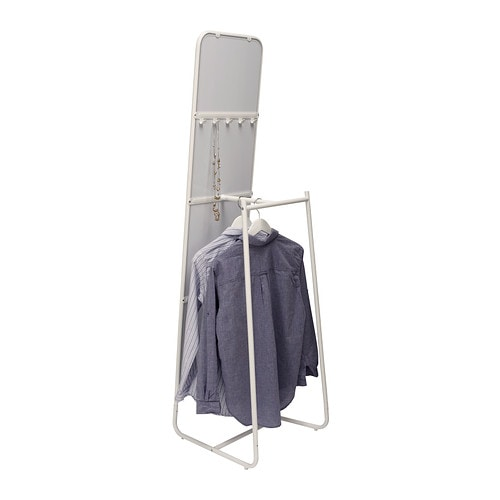 KNAPPER Standing mirror   Tired in the mornings? You can save time by hanging tomorrow's outfit behind the mirror.