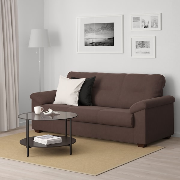 KNISLINGE Three-seat sofa, Samsta dark brown