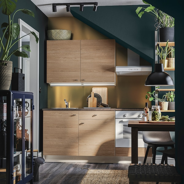 KNOXHULT مطبخ, مظهر الخشب رمادي, 180x61x220 سم