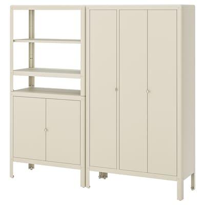 KOLBJÖRN Shelving unit with 2 cabinets, beige, 171x37x161 cm