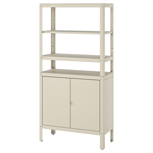 KOLBJÖRN shelving unit with cabinet beige 80 cm 37 cm 161 cm