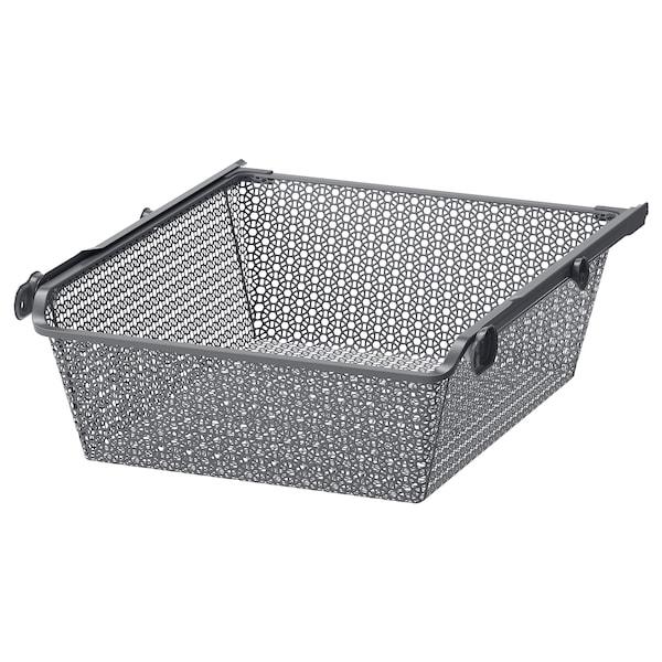 KOMPLEMENT metal basket with pull-out rail dark grey 46.1 cm 50 cm 53.3 cm 16 cm 58 cm 15 kg