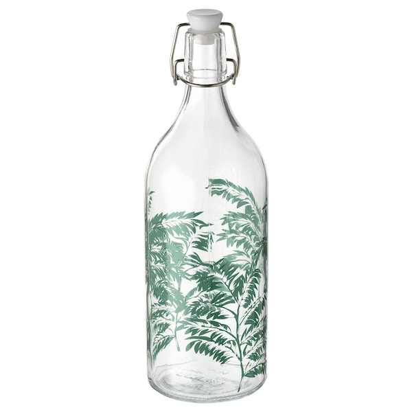 KORKEN Bottle with stopper, clear glass/patterned, 1 l