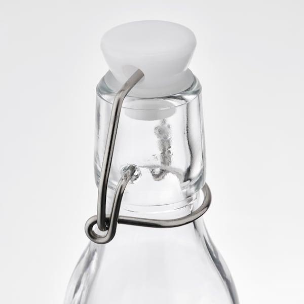 KORKEN قنينة مع سدادة, زجاج شفاف, 15 سل