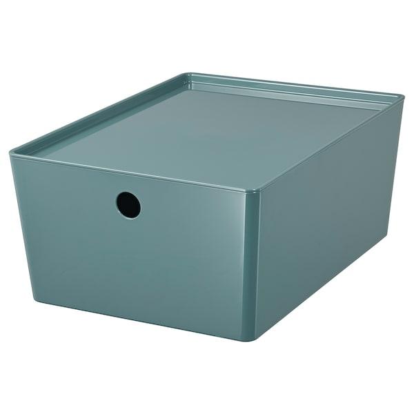 KUGGIS Storage box with lid, turquoise, 26x35x15 cm