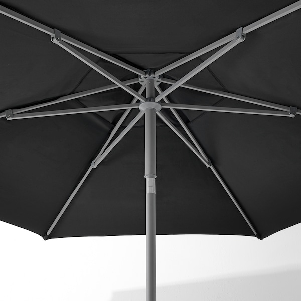 KUGGÖ / LINDÖJA parasol with base black/Lökö grey 180 g/m² 253 cm 300 cm
