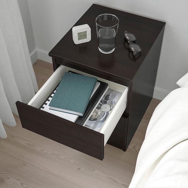 KULLEN Chest of 2 drawers, black-brown, 35x49 cm