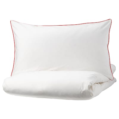 KUNGSBLOMMA Quilt cover and 2 pillowcases, white/red, 240x220/50x80 cm