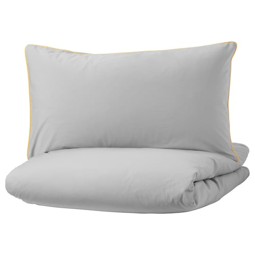 KUNGSBLOMMA quilt cover and pillowcase grey/yellow 200 /inch² 1 pieces 200 cm 150 cm 50 cm 80 cm