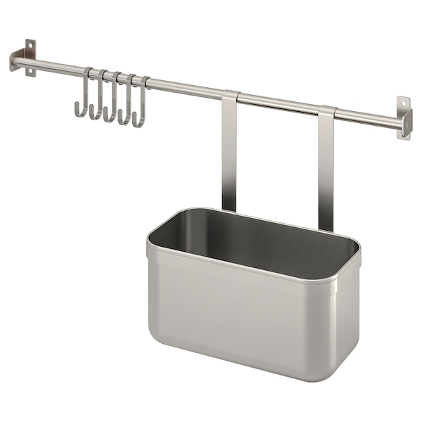 KUNGSFORS Rail with 5 hooks and 1 container, stainless steel, 56 cm