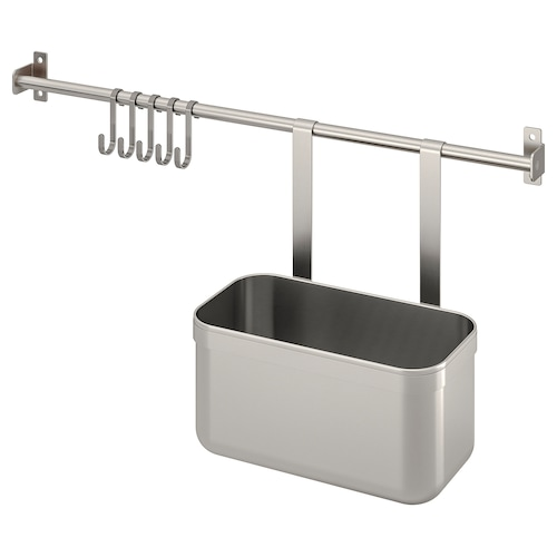 KUNGSFORS rail with 5 hooks and 1 container stainless steel 56 cm