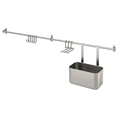 KUNGSFORS Rails with hooks and container, stainless steel, 112 cm