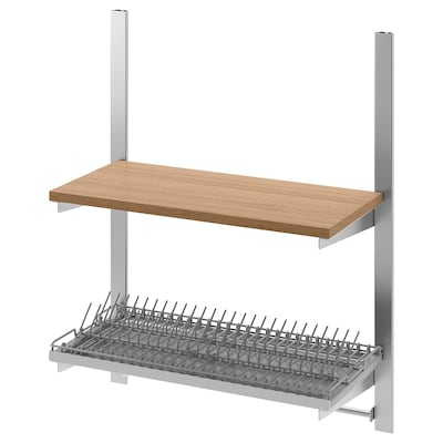 KUNGSFORS Susp rail w shelf/rail/dish dra, stainless steel/ash