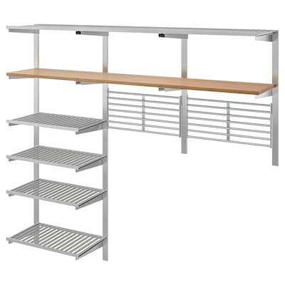 KUNGSFORS Suspension rail w shelves/wll grids, stainless steel/ash