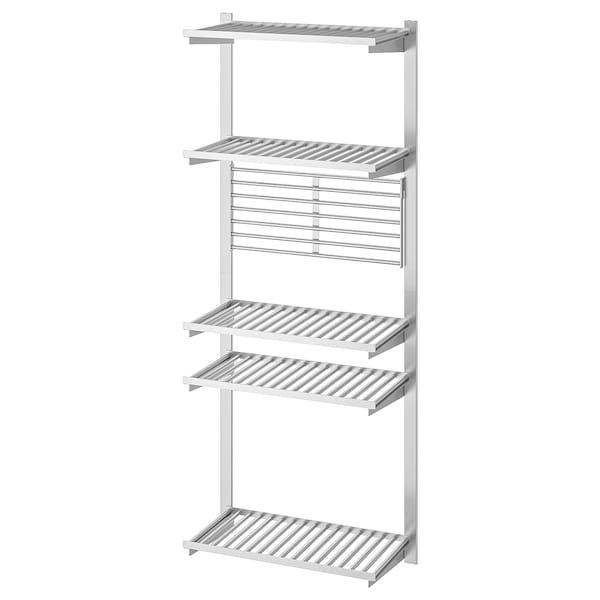 KUNGSFORS Suspension rail with shelf/wll grid, stainless steel
