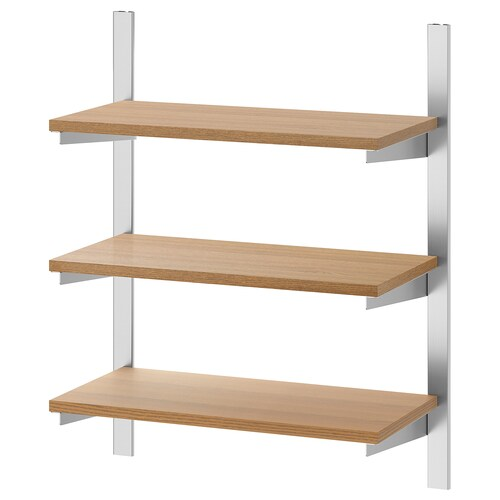 KUNGSFORS suspension rail with shelves stainless steel/ash 60 cm
