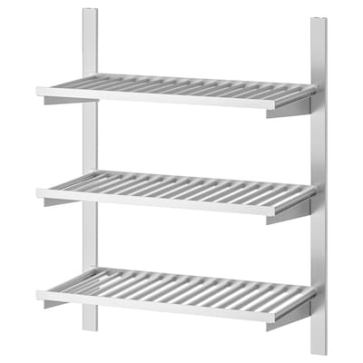 KUNGSFORS Suspension rail with shelves, stainless steel