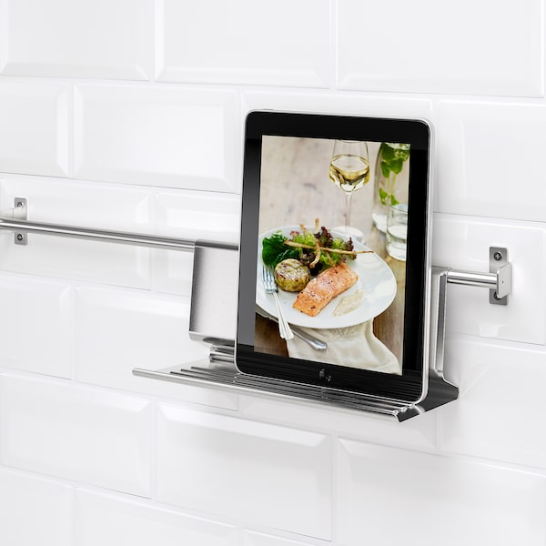 KUNGSFORS Tablet stand, stainless steel, 26x12 cm