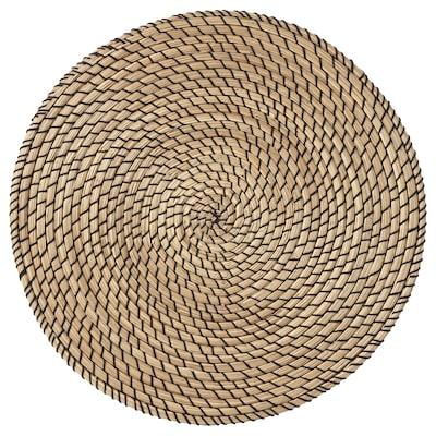 LÄTTAD Place mat, seagrass/black, 37 cm