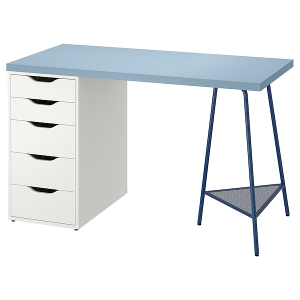 LAGKAPTEN / ALEX Desk, blue/white, 120x60 cm