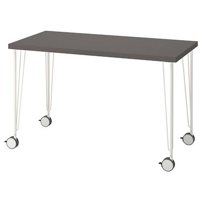LAGKAPTEN / KRILLE Desk, dark grey/white, 120x60 cm