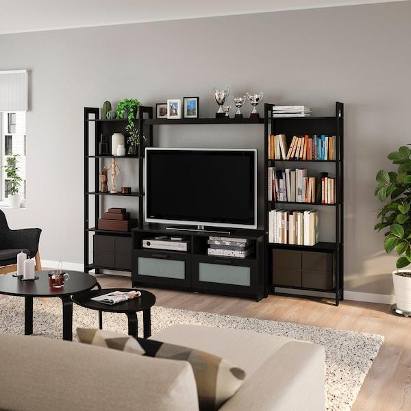 LAIVA / BRIMNES TV storage combination, black-brown, 244x41x165 cm