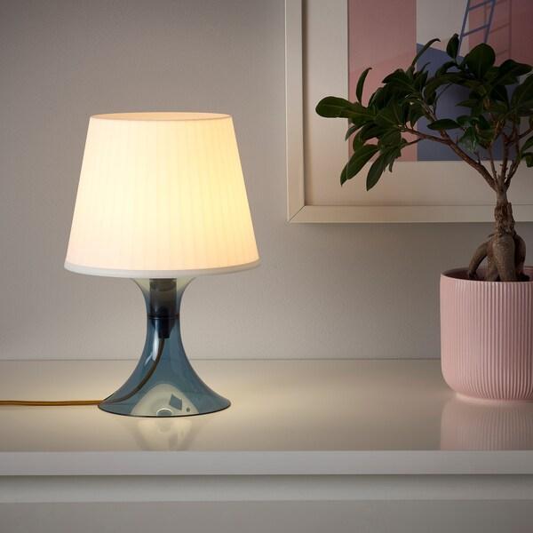 LAMPAN Table lamp, dark blue/white, 29 cm