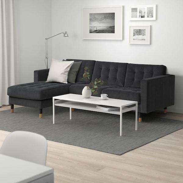 LANDSKRONA 3-seat sofa, with chaise longue/velvet dark grey/wood