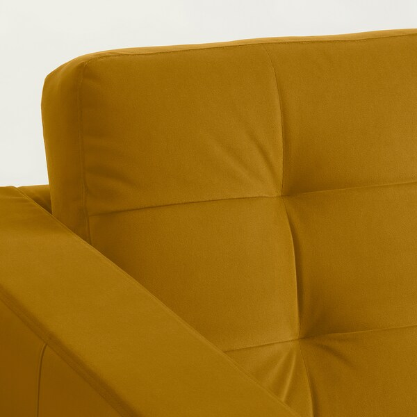 LANDSKRONA 3-seat sofa, with chaise longue/velvet yellow/wood