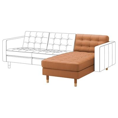 LANDSKRONA Chaise longue, add-on unit, Grann/Bomstad golden-brown/wood